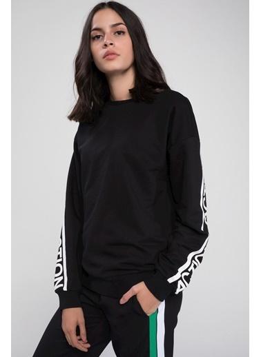 DeFacto Yazılı Şerit Detaylı Baskılı Sweatshirt Siyah